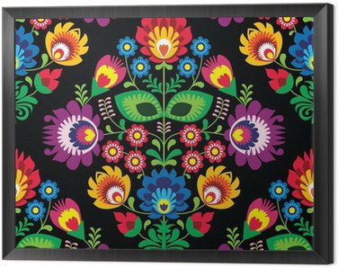 Framed Canvas Seamless traditional floral Polish pattern on black