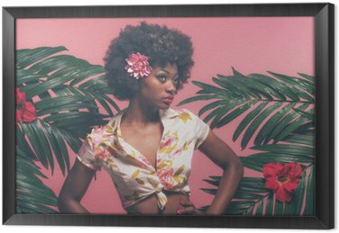 Sensual Afro American Pin-up Between Palm Leaves. Against Pink B Framed Canvas