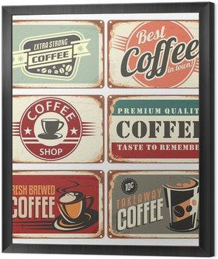 Set of vintage coffee tin signs
