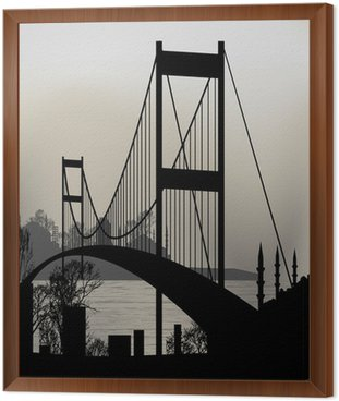 silhouette of Istanbul and the Bosphorus Bridge Framed Canvas