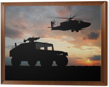 Framed Canvas Silhouette of truck over sunset with helicopter.