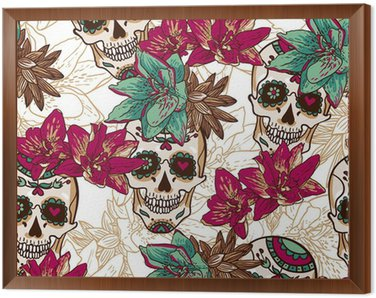 Framed Canvas Skull, Hearts and Flowers Seamless Background