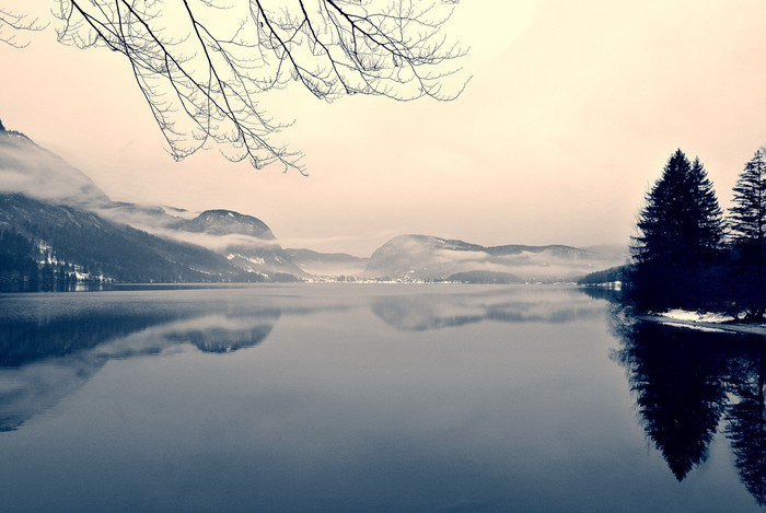 Framed Canvas Snowy winter landscape on the lake in black and white. Monochrome image filtered in retro, vintage style with soft focus, red filter and some noise; nostalgic concept of winter. Lake Bohinj, Slovenia. - Landscapes