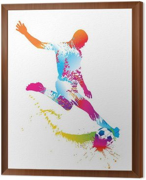 Framed Canvas Soccer player kicks the ball. Vector illustration.