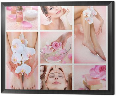 Spa Collage Framed Canvas