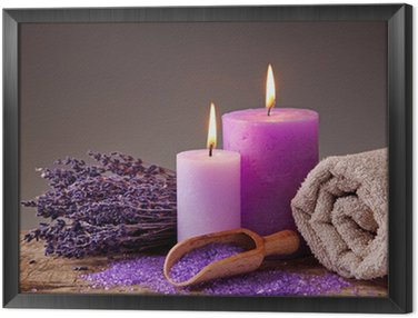 Spa still life with candles and lavender Framed Canvas