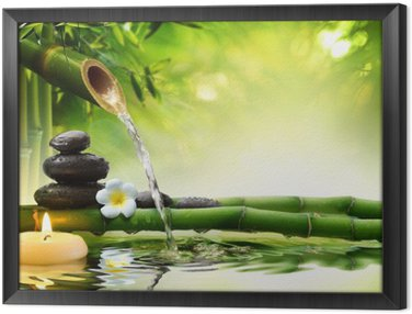 Framed Canvas spa stones in garden with flow water