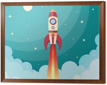 Framed Canvas Space rocket print