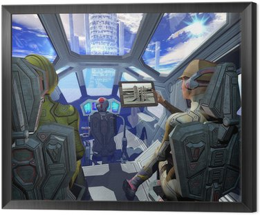 Framed Canvas spaceship interior and alien planet