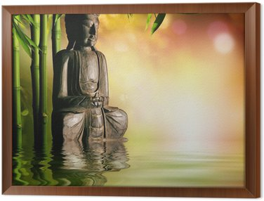 Framed Canvas spiritual background of Asian culture with buddha