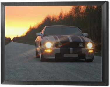 Framed Canvas Sport car on the night road