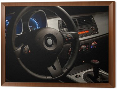 Framed Canvas Sports car interior with dramatic nighttime lighting