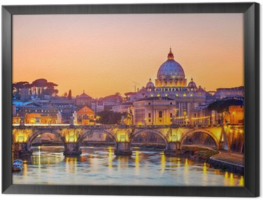St. Peter's cathedral at night, Rome Framed Canvas
