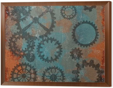 Framed Canvas Steam punk grunge background with clock wheels