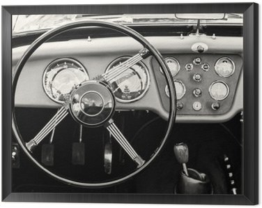 Framed Canvas Steering wheel and dashboard in historic vintage car