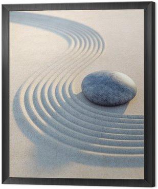Stein und Wellen im Sand Hochformat Framed Canvas