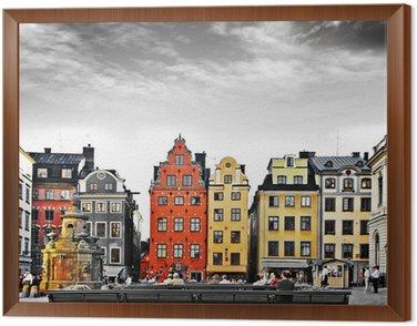 Stockholm, heart of old town, Framed Canvas