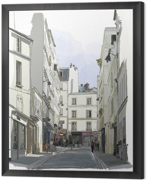 Framed Canvas street near Montmartre in Paris