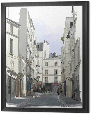 street near Montmartre in Paris Framed Canvas