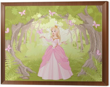 Framed Canvas Strolling princess in the fantastic wood