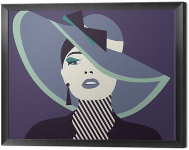 stylized sexy woman with hut Framed Canvas