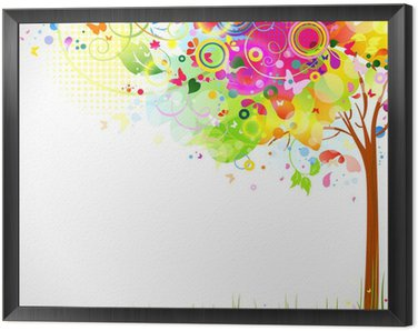 Framed Canvas summer composition with multicolor tree