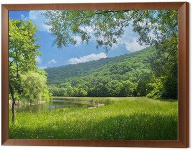 Framed Canvas summer landscape with river and blue sky