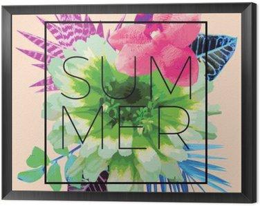 Framed Canvas Summer slogan. Trendy floral print