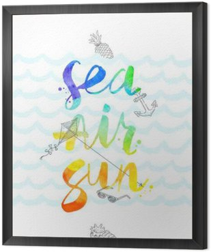 Framed Canvas Summer vacation hand drawn illustration with watercolor calligraphy - vector illustration