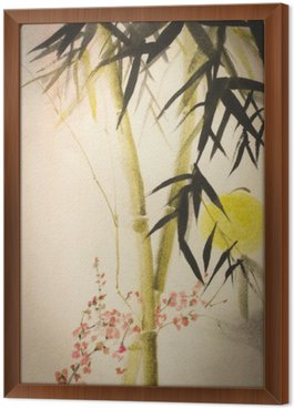 Sun bamboo and plum branch
