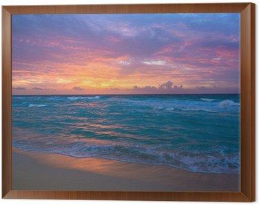 Sunrise in Cancun Framed Canvas