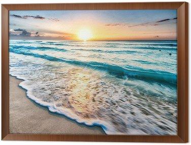 Sunrise over beach in Cancun Framed Canvas