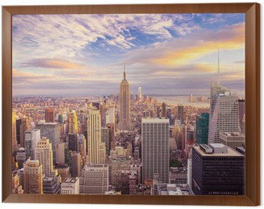 Sunset view of New York City looking over midtown Manhattan Framed Canvas