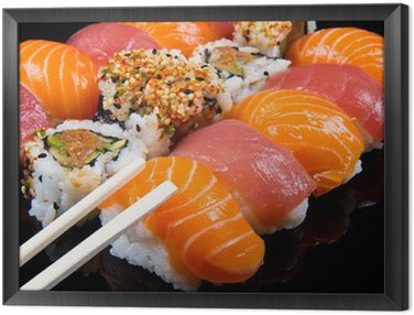 sushi and rolls Framed Canvas