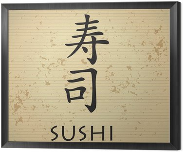 Sushi bar menu with japanese characters Framed Canvas
