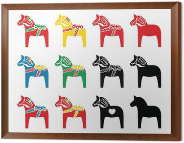 Framed Canvas Swedish dala horse vector icons set