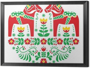 Framed Canvas Swedish Dala or Daleclarian horse floral folk pattern