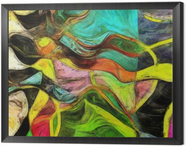 Framed Canvas Swirling Shapes, Color and Lines