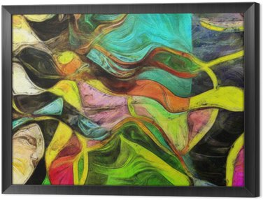 Swirling Shapes, Color and Lines Framed Canvas