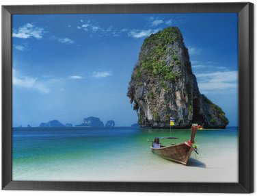 Framed Canvas Thailand beach in tropical island. Travel boats at summer in sea