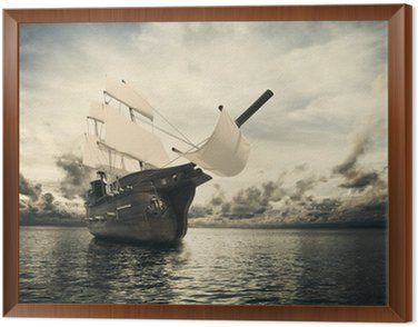 Framed Canvas The ancient ship in the sea