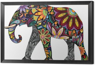 The cheerful elephant Framed Canvas