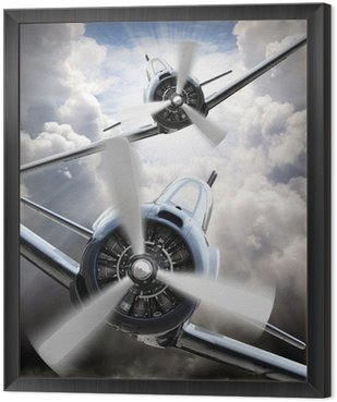 The Fighters. Retro technology theme. Framed Canvas