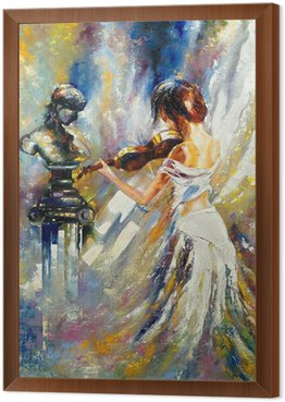 Framed Canvas The girl playing a violin