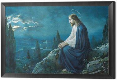 Framed Canvas The prayer of Jesus in the Gethsemane garden.