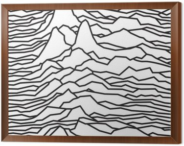 Framed Canvas The rhythm of the waves, the pulsar, vector lines design, broken lines, mountains