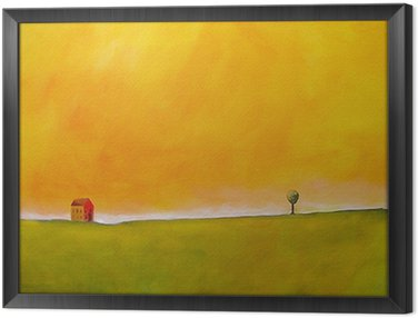 Framed Canvas this is an abstract painting of a farm scene
