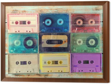 Top view (above) shot of retro tape cassette on wood table - vintage color effect styles. Framed Canvas