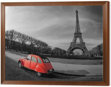 Framed Canvas Tour Eiffel et voiture rouge- Paris