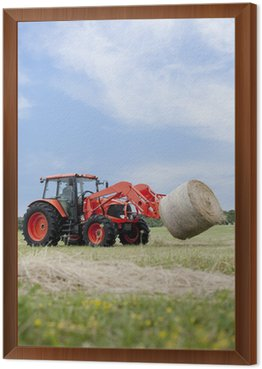 Framed Canvas Tractor Hauling Round Bale